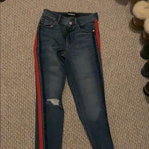 Express skinny jeans w navy and red detail